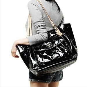 Coach Patent Leather Leah Tote Shoulder Bag EUC